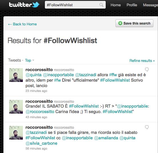 #FollowWishlist Nascita di un Hashtag